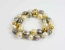 Perlencollier 750 Gelbgoldperlen und -verschluss, barocke Südseezuchtperlen, champagnerfarben und