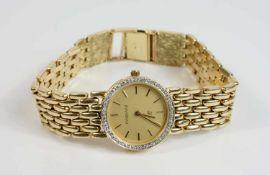 Fabiani Damenarmbanduhr, Quarz, Gehäuse 585 Gelbgold, Durchmesser 24 mm, Armband 585 Gelbgold, Länge