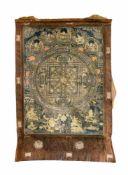 Thangka Nepal, 20. Jh., Seidenumrandung, Gouachemalerei auf Leinen, zentraler Buddha, 91 cm x 62