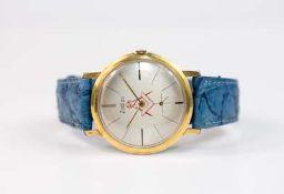 Zodiac Herrenarmbanduhr, Modell mit Zirkel und Winkel, Handaufzug, Gehäuse Edelstahl, vergoldet,