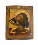 Ikone 'Haupt des Johannes' Zentralrussland, 19. Jh., Tempera auf Holz, rückseitig mit Blatt zur