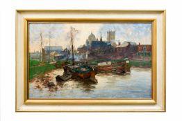Erich Nikutowski (1872 Düsseldorf - 1921 Kaub am Rhein) Fischerboote im Hafen, Öl auf Leinwand, 50
