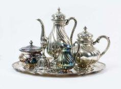 Tee- und Kaffeeset mit Tischklingel 6-tlg., Wilkens & Söhne, Bremen, Anfang 20. Jh., 800 Silber,