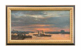 Rolf Dieter Meyer-Wiegand (1929 Krefeld - 2006 Köln) Duisburger Hafen mit der Oscar Huber, Öl auf