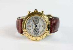 Eberhard & Co. Herrenarmbanduhr, Chronograph, Handaufzug, Gehäuse Edelstahl, vergoldet,