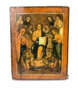 Ikone 'Erweiterte Deesis' Russland, 19. Jh., Eitempera auf Holz, 31,2 cm x 24,3 cm, restauriert