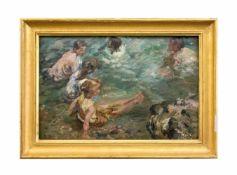 Damian Vasilevich Schibnev (1887 Mariupol - 1929 Kertsch) Badende Kinder, Öl auf Holz, 24,3 cm x