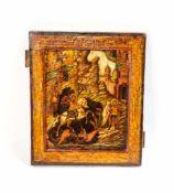 Ikone vom Heiligen Georg dem Drachentöter Zentralrussland, 1. Hälfte 19. Jh., Eitempera auf Holz,