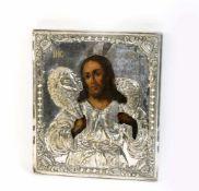 Metalloklad-Ikone Ostpolen/Böhmen, Ende 19. Jh., Eitempera auf Holz, Darstellung des Christus als