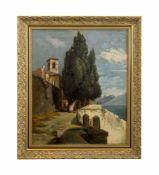 Unbekannter Künstler (20. Jh.) Mediterrane Küstenansicht, Öl auf Leinwand, 63,5 cm x 52 cm, am