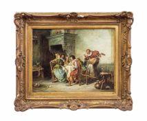 Jakob Emanuel Gaisser (1825 Augsburg - 1899 München) Fröhliche Gesellschaft am Kamin, Öl auf Holz,