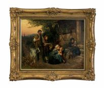 Oskar Schulz (1878 - 1908, Deutschland) Heimkehr von der Feldarbeit, Öl auf Leinwand, 52,5 cm x 65,5