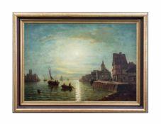 Friedrich Weiss (1846 - 1870, tätig in Berlin) Hafenszene im Mondlicht, Öl auf Leinwand,