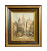 Henry Thomas Schäfer (1854 - nach 1915, war tätig in London) Straßenszene in Straßburg, Öl auf