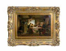 Robert Sanderson (1848 - 1908, Schottland) Familie am Tisch, Öl auf Leinwand, doubliert, 27,5 cm x