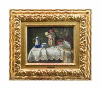 Lea Reinhart (1877 Brünn - 1970 Wien) Antiquitätenstillleben mit Rosen, Öl auf Holz, 20,7 cm x 26