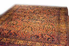 Amerikanischer Sarough Persien, Wolle auf Wolle, 325 cm x 240 cm, eine Fransenkante eingekettelt,