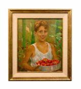 Mario Bettinelli (1880 Treviglio - 1953 Mailand) Junge mit Tomatenkorb, Öl auf Platte, 60 cm x 50