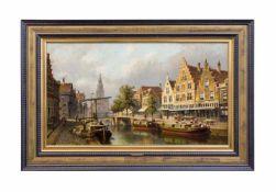 Eduard Alexander Hilverdink (1846 Amsterdam - 1891 ebenda) Die Amstel und Munttoren in Amsterdam, Öl