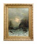 Joseph F. Heydendahl (1844 Düsseldorf - 1906 ebenda) Winterliche Abendszene mit Bäuerin, Öl auf