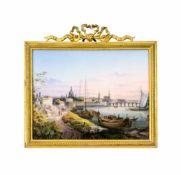 Porzellanbild mit Dresdener Ansicht Meissen, 1840 - 1850, Porzellan, farbig gefasst, die