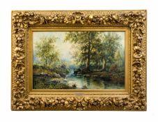 G. A. Plessing (20. Jh.) Flusslandschaft mit Wald, Öl auf Leinwand, 47,5 cm x 73 cm, unten rechts G.