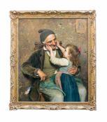 Luigi Bechi (1830 Florenz - 1919 ebenda) Genreszene mit Großvater und Enkelkind, Öl auf Leinwand, 95