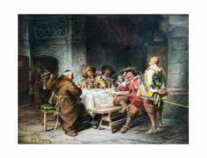 Jakob Emanuel Gaisser (1825 Augsburg - 1899 München) Heitere Gesellschaft beim Wein, Öl auf Holz, 35