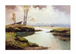 Georg Arnold-Graboné (1896 München - 1982 Buchhof) Landschaft mit Scheune, Öl auf Leinwand, 70,5