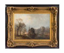Carl Hilgers (1818 Düsseldorf - 1890 ebenda) Wasserschloss im herbstlichen Wald mit Jäger, Öl auf