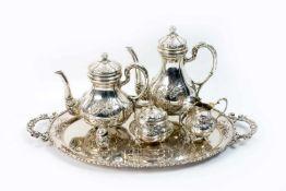 Silberset auf Tablett 8-tlg., Deutschland, Mitte 20. Jh., Kaffeekanne, Höhe 25,5 cm, Teekanne,