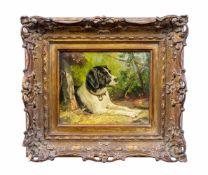 Clara von Wille (1838 Düsseldorf - 1883 ebenda) Liegender Hund mit Knochen, Öl auf Leinwand, 18,3 cm