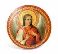 Runde Ikone 'Erzengel Michael' Russland, Eitempera auf Holz, Durchmesser 36 cm x 5 cm,