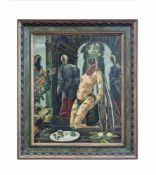 Victor Lefebvre (1912 - 1998, Frankreich) Katzenkönigin mit gesichtslosen Figuren, Öl auf Leinwand