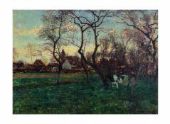 Heinrich Hermanns (1862 Düsseldorf - 1942 ebenda) Niederrheinansicht, Öl auf Leinwand, 48 cm x 65,