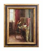 Gino F. Parin (1876 Trieste - 1944 Bergen-Belsen) Dame am Schreibtisch, Öl auf Leinwand,