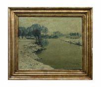 Max Clarenbach (1880 Neuss - 1952 Wittlaer) Winter am Niederrhein, Öl auf Leinwand, 50,5 cm x 60,5