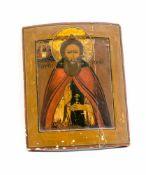 Ikone Russland, 19. Jh., Tempera auf Holz, Darstellung eines Heiligen mit segnender Geste, 31,7 cm x