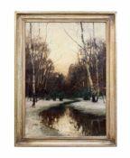 Konrad Alexander Müller-Kurzwelly (1855 Chemnitz - 1914 Berlin) Winterabend, Öl auf Leinwand, 100 cm