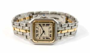 Cartier Herrenarmbanduhr/Unisex, Modell Panthere Date, Quarz, Gehäuse 750 Gelbgold und Edelstahl,
