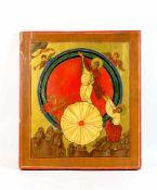 Große Ikone Russland, 19. Jh., Eitempera auf Holz, partiell gold staffiert, 'Die feurige Himmelfahrt