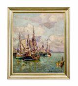 Paul Ernst Wilke (1894 Bremerhaven - 1972 Lilienthal) Im Hafen, Öl auf Leinwand, 70 cm x 60 cm,