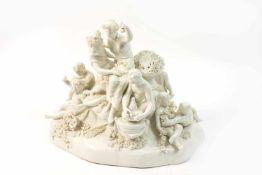 Figurengruppe mit Blütenbouquets Nymphenburg, Modell nach Frankenthal, Porzellan, weiß, Höhe 25