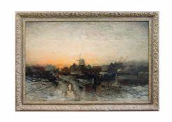 Ludwig Munthe (1841 Sundal - 1896 Düsseldorf) Verschneite Landschaft mit Windmühle, Öl auf Leinwand,