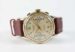 Hanhart Herrenarmbanduhr, Chronograph, Handaufzug, Gehäuse Edelstahl, partiell vergoldet,