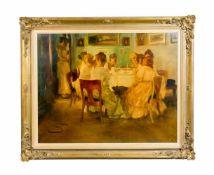 Wilhelm Schreuer (1866 Wesel - 1933 Düsseldorf) Gesellschaft am Tisch, Öl auf Papier auf Platte,
