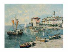 Otto Hellmeier (1908 Weilheim - 1996 ebenda) Hafenansicht von Santo Stefano, Öl auf Leinwand, 61