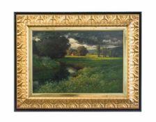Hermann Traugott Rüdisühli (1864 Lenzburg - 1944 München) Landschaft mit aufziehendem Gewitter, Öl