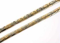 Damencollier und Armband 585 Gelb- und Weißgold, Kette und Armband können anhand der Verschlüsse