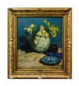 Hermann Angermeyer (1876 Bremen - 1955 Fischerhude) Stillleben mit Blumenvase und blauem Teller,